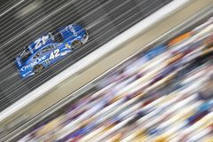 NASCAR: May 26 Coca-Cola 600. May 26, 2019 - Concord, North Carolina, USA: Kyle Larson 42 races off the turn during the Coca-Cola 600 at Charlotte Motor Speedway royalty free stock photo