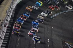 NASCAR: May 26 Coca-Cola 600. May 26, 2019 - Concord, North Carolina, USA: Martin Truex Jr. 19 and Chase Elliott 9 race for the lead during the Coca-Cola 600 at royalty free stock image