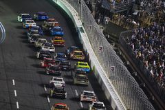 NASCAR: May 26 Coca-Cola 600. May 26, 2019 - Concord, North Carolina, USA: Martin Truex Jr. 19 and Chase Elliott 9 race for the lead during the Coca-Cola 600 at royalty free stock photo