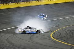 NASCAR: May 27 Coca-Cola 600. May 27, 2018 - Concord, North Carolina, USA: Chris Buescher 37 Races through turn 4 and loses control at the Coca-Cola 600 at stock photography