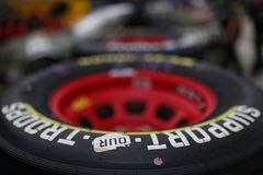 NASCAR: May 24 Coca-Cola 600. May 24, 2018 - Concord, North Carolina, USA: Goodyear Racing Tires sit in the garage before practice for the Coca-Cola 600 at royalty free stock photography