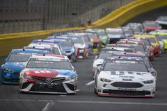 NASCAR: May 27 Coca-Cola 600. May 27, 2018 - Concord, North Carolina, USA: Kyle Busch 18 and Brad Keselowski 2 lead the field for the Coca-Cola 600 at Charlotte royalty free stock photo