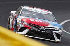 NASCAR: May 24 Coca-Cola 600. May 24, 2018 - Concord, North Carolina, USA: Kyle Busch 18 brings his car through the turns during practice for the Coca-Cola 600 stock image