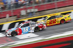 NASCAR: May 27 Coca-Cola 600. May 27, 2018 - Concord, North Carolina, USA: Kyle Busch 18 and Joey Logano 22 battle for position during the Coca-Cola 600 at royalty free stock photos