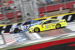 NASCAR: May 27 Coca-Cola 600. May 27, 2018 - Concord, North Carolina, USA: Ricky Stenhouse, Jr 17 and Paul Menard 21 battle for position during the Coca-Cola 600 royalty free stock photography
