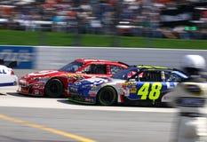 NASCAR - Monyota Edges Johnson in 2 Royalty Free Stock Photos