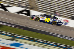 NASCAR:  Nov 06 AAA Texas 500. FORT WORTH, TX - NOV 06, 2010:  Jimmie Johnson (48) brings his Lowe's Chevrolet through the frontstretch during a practice session Royalty Free Stock Photography