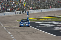 NASCAR:  Nov 06 O'Reilly Auto Parts Challenge. FORT WORTH, TX - NOV 06, 2010:  Carl Edwards holds off Kyle Busch and the rest of the field to win the O'Reilly Royalty Free Stock Photography
