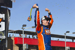NASCAR:  Oct 09 CampingWorld.com 300. FONTANA, CA - OCT 09, 2010:  Kyle Busch wins for the 12th time this season, winning the CampingWorld.com 300 race at the Royalty Free Stock Photos