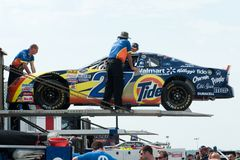 NASCAR racing. Teams disembarking their racing cars for the 2009 Canadian Tire Series in St Eustache,Quebec Royalty Free Stock Images