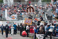 NASCAR racing. Pit row  at the 2009 Canadian Tire NASCAR Series in St Eustache Quebec Stock Photos