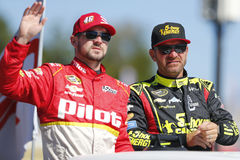 NASCAR: Sep 25 Bad Boy Off Road 300. Loudon, NH - Sep 25, 2016: Clint Bowyer (15) and Michael Annett (46) get ready for the Bad Boy Off Road 300 at the New stock images