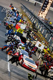 NASCAR:  September 05 Degree V12 300. 05 September, 2009:  The NASCAR Nationwide teams come to pit road during the Degree V12 300 race at the Atlanta Motor Royalty Free Stock Photos