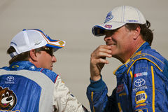 NASCAR:  September 25 AAA 400. 25 September, 2009:  Teammates David Reutimann and Michael Waltrip, talk before qualifying for the AAA 400 race at the Dover Stock Photos