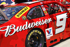 NASCAR - Sponsorship Spotlight. NASCAR driver Kasey Kahne's #9 Budweiser Armed Forces Tribute car waits in the garage area of Charlotte Motor Speedway before the Stock Images