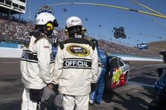 NASCAR Sprint ahuecan al conductor Jimmie Johnson Pitstop Fotos de archivo libres de regalías