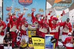 NASCAR Victory Lane at Phoenix International Racew. Kevin Harvick, crew, and family at Victory Lane Stock Image