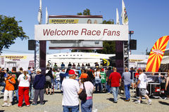 NASCAR - Welcome Race Fans. Sprint, the title sponsor to NASCAR's biggest racing series, always has a huge display at pre race festivities. This one was set up royalty free stock photo