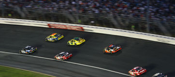 NASCAR - zooming into Turn 2 Stock Images