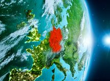 Nascer do sol acima de Alemanha na terra do planeta Imagens de Stock
