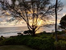 Nascer do sol do amanhecer sobre o oceano na praia de Waimanalo fotos de stock