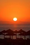 Nascer do sol bonito da manhã em Roquetas Del Mar em Spain Fotografia de Stock