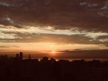 nascer do sol bonito em Baki fotografia de stock