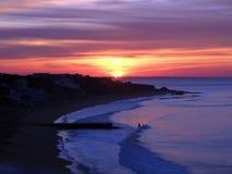 Nascer do sol bonito na costa de Albufeira fotos de stock royalty free
