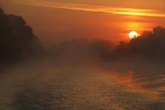 Nascer do sol bonito no delta de Danúbio Fotos de Stock Royalty Free