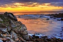 Nascer do sol bonito sobre Monterey fotografia de stock