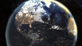 Nascer do sol bonito sobre a terra Cidades na noite HD 1080 ilustração royalty free