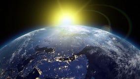 Nascer do sol bonito sobre a terra Transição da noite ao dia ilustração royalty free