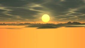 Nascer do sol brilhante sobre o vale nevoento filme