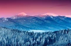 Nascer do sol colorido do inverno nas montanhas Foto de Stock