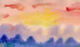 Nascer do sol da aguarela Imagens de Stock
