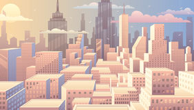 Nascer do sol da arquitetura da cidade ilustração do vetor