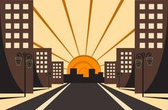 Nascer do sol da cidade Fotos de Stock Royalty Free