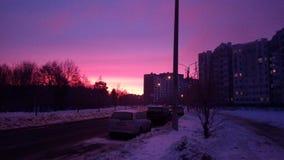 Nascer do sol da cidade do inverno Imagens de Stock Royalty Free