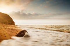 Nascer do sol da costa de mar em Chabanka Odesa Ucrânia Fotografia de Stock Royalty Free