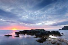 Nascer do sol da costa de Terra Nova Fotos de Stock Royalty Free