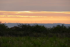 Nascer do sol da exploração agrícola de vento Fotografia de Stock Royalty Free