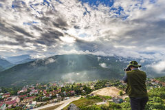 Nascer do sol da fotografia da paisagem do fotógrafo Imagens de Stock Royalty Free