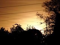 Nascer do sol da linha de alta tensão fotografia de stock