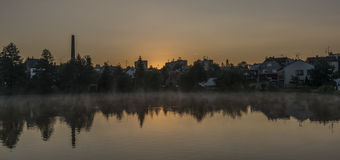 Nascer do sol da mola na cidade de Dacice Fotografia de Stock Royalty Free