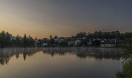 Nascer do sol da mola na cidade de Dacice Imagens de Stock Royalty Free