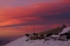Nascer do sol da montanha fotografia de stock