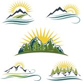 Nascer do sol da montanha, jogo do ícone da natureza Fotos de Stock Royalty Free