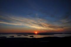 Nascer do sol da parte superior da montanha de Cadillac Fotografia de Stock Royalty Free