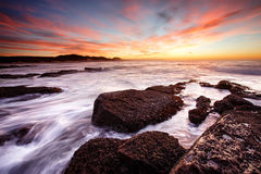 Nascer do sol da praia de Kidds Imagem de Stock