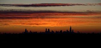 Nascer do sol de Chicago fotografia de stock